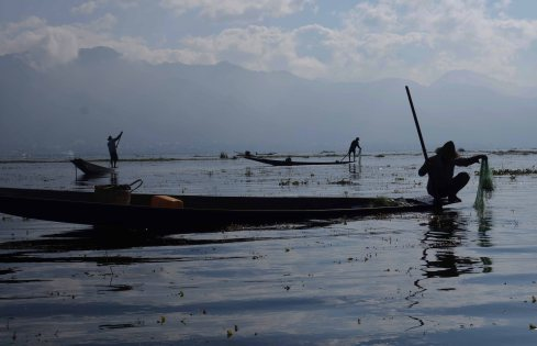 A fisherman in Inle Lake