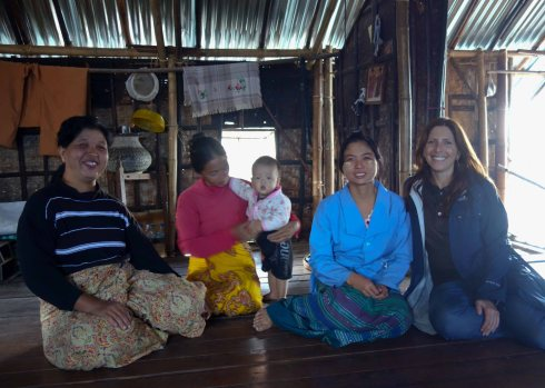 The widow, her daughters, Win, and I at Inle Lake