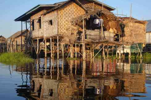 Typical Inle Lake bamboo home
